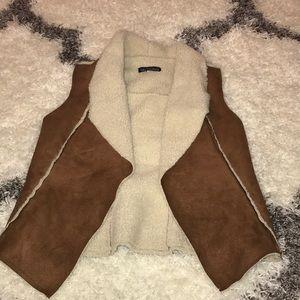 Fur lined suede vest